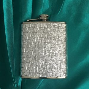 Silver Flask with textured weave pattern